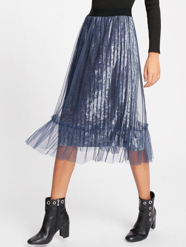 Ruffle Hem Mesh Overlay Velvet Skirt -SheIn(Sheinside)