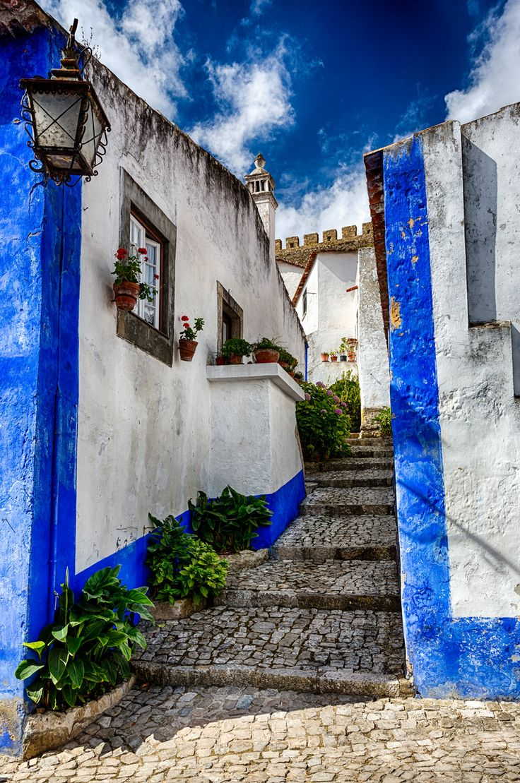 ~~Back Street in Blue ~ Obidos, Portugal by Paul Richards~~