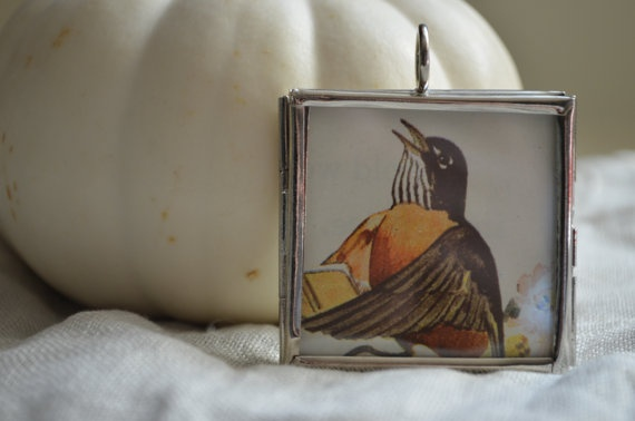 Pendant Necklace Singing Bird Autumn Color by OneSmallStory, $12.00