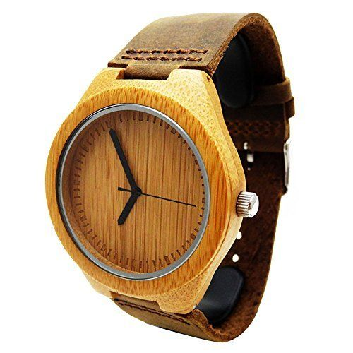 Handmade Wooden Watch Made with Natural Bamboo Wood in Brown Leather Strap - HGW-158 Wo Fat Chin