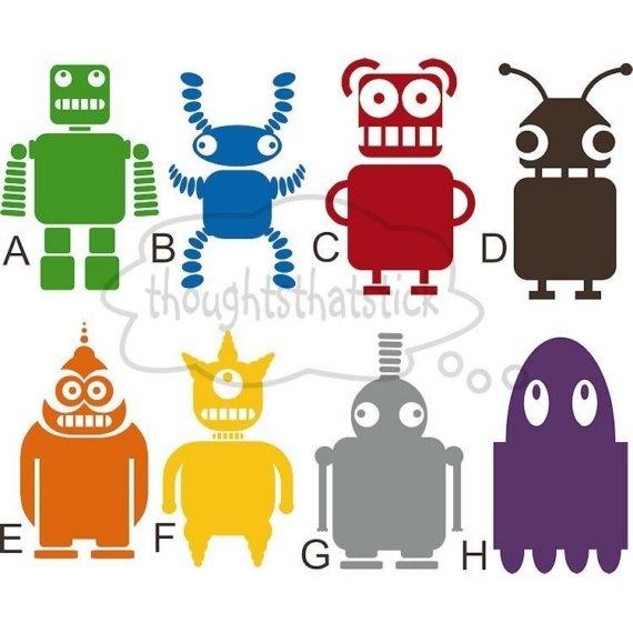 Colorful robot wall decals | Manualidades