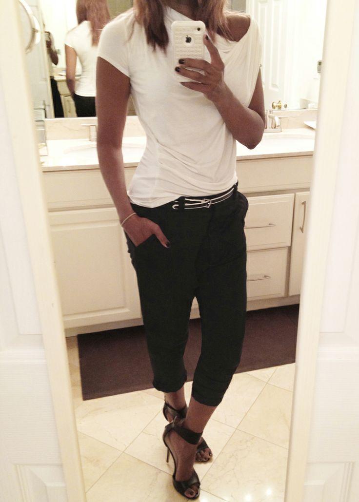 Me; street style; Allsaints drop crotch pants, Elie Tahari top, Chinese Laundry heels