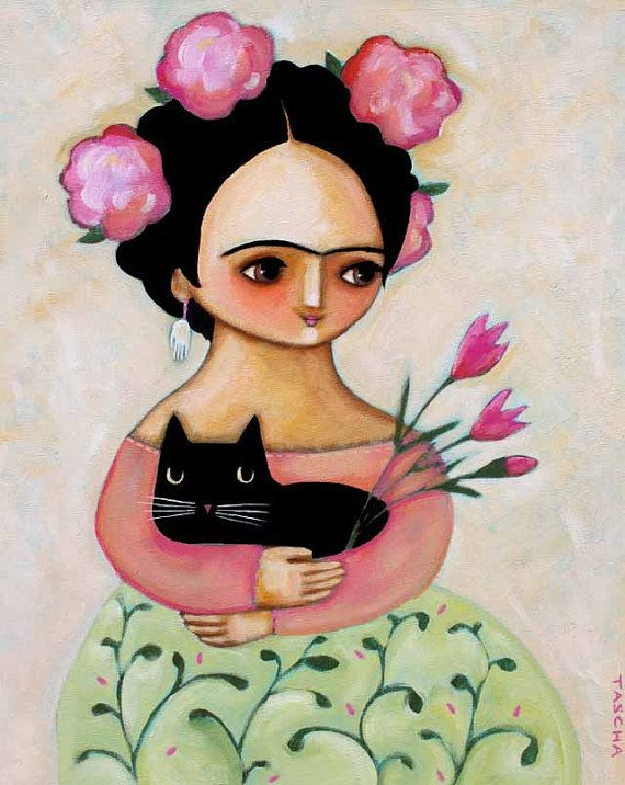 LARGE ORIGINAL Frida Kahlo Black cat and Tulips portrait painting acrylic on canvas 20x16 by tascha