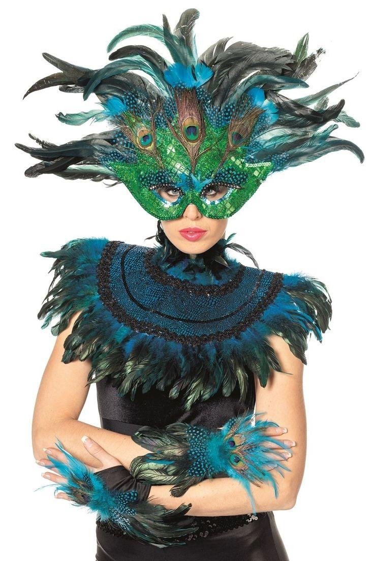 Set - Maske, Kragenschmuck und Handschuhe | Venezianische Masken | Masken | Masken & Schminke | Karneval Wagner