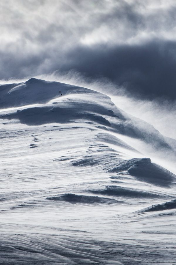 Climbers braving a winter storm heading to the summit of Mt. Ruapehu, New Zealand
