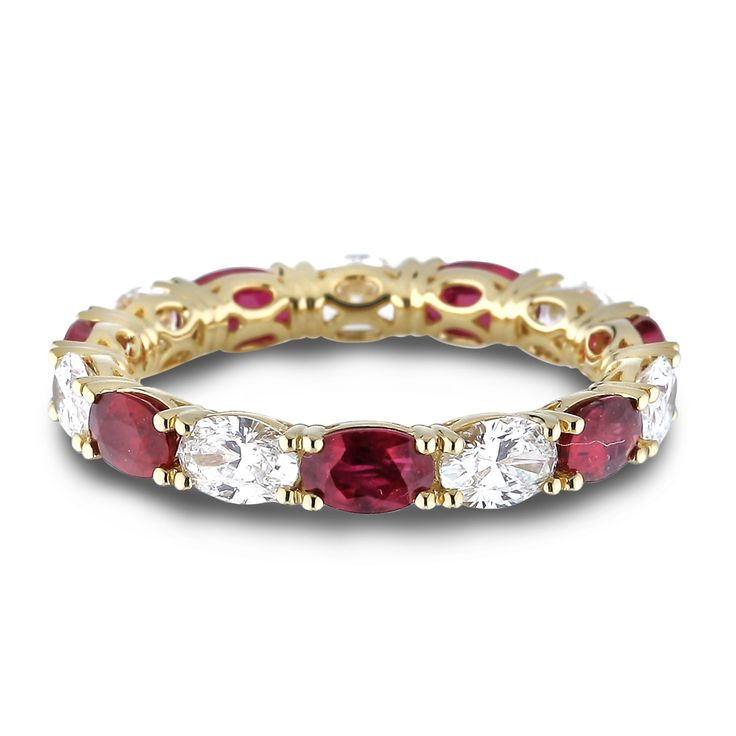 Ruby and Diamond Eternity Anniversary Ring
