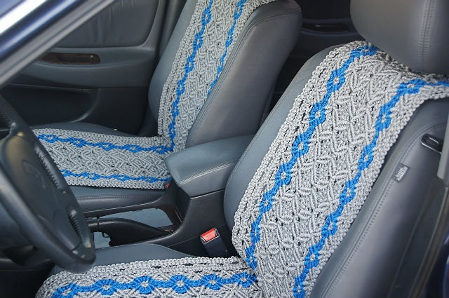 Handwork cover on car chairs (macrame). $333.00, via Etsy.