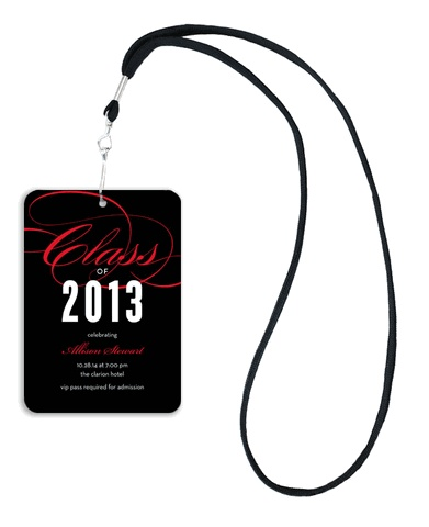Swirling Red and Black VIP Graduation Invitation by Noteworthy Collections at InvitationBox.com