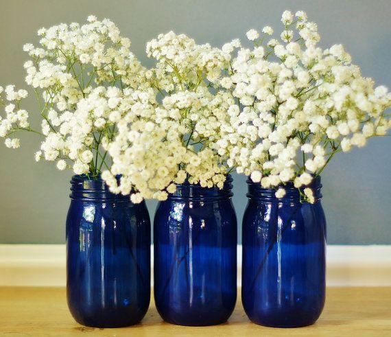 Set of Three Cobalt Blue Mason Jar Vases Hand Painted by LITdecor