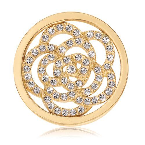 Nikki Lissoni Gold-tone 23.6mm Swarovski® Sparkling Flower Coin