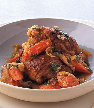 Sweet-and-Sour Chicken Thighs with Carrots  Love this dish!  I have been using organic boneless skinless thighs and reduce the time.