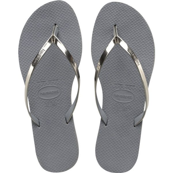 Women's Sand Grey/Light Golden You Flip Flop - Havaianas (130 BRL) ❤ liked on Polyvore featuring shoes, sandals, flip flops, gray sandals, havaianas sandals, havaianas shoes, golden sandals and strappy sandals