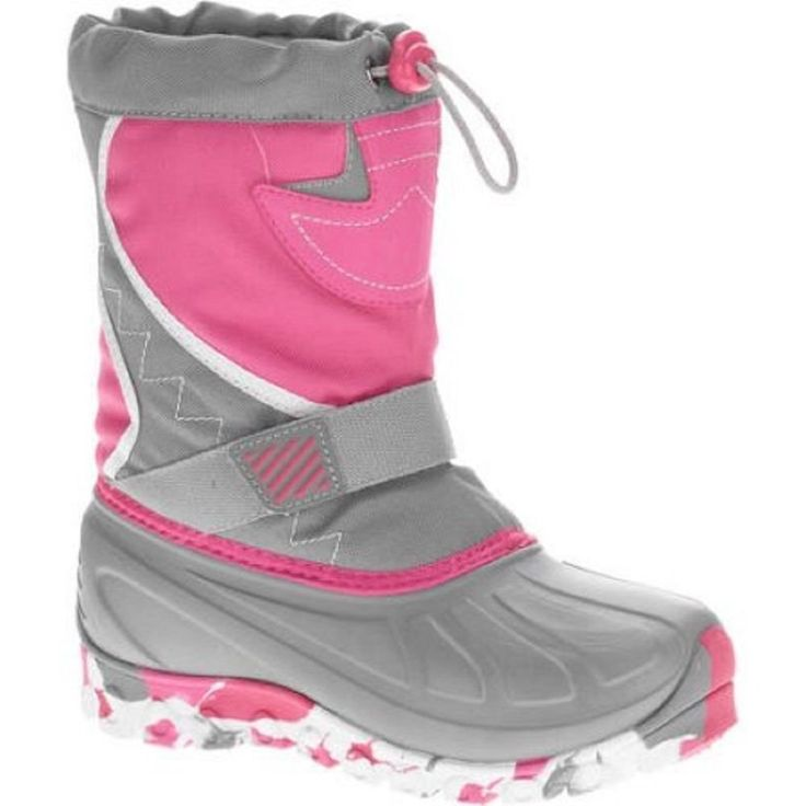 Ozark Trail Girls' Temp Rated Winter Boots, 5, Gray/Pink/White. Sturdy Temp Rated Water Proof Hand Wash Man-Made Materials Velcro Strap Size: 5 Color: Gray/Pink Camo.