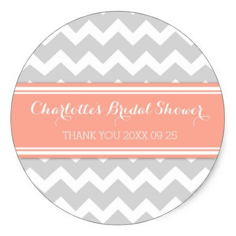 Grey Coral Chevron Bridal Shower Favor Tags #chevron #craft #supplies