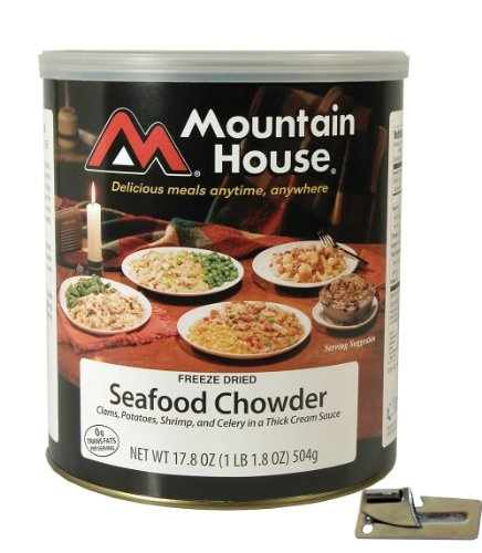 Mountain House Freeze Dried Seafood Chowder with Free Can Opener The Mountain House Seafood Chowder has Potatoes, clams, shrimp, and celery in a thick cream sauce. The Mountain House Seafood Chowder makes 10 1-cup servings. Mountain House® foods have excellent flavor, convenience, and storability.