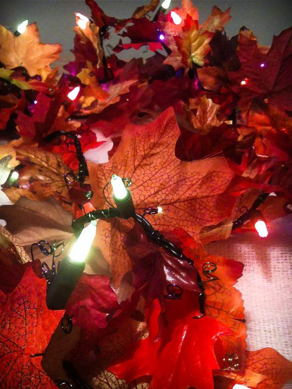Fall Color String Lights : Multi Color (Green, Orange, and Purple) Mini String Lights with Artificial Autumn Leaves (17.5FT ...