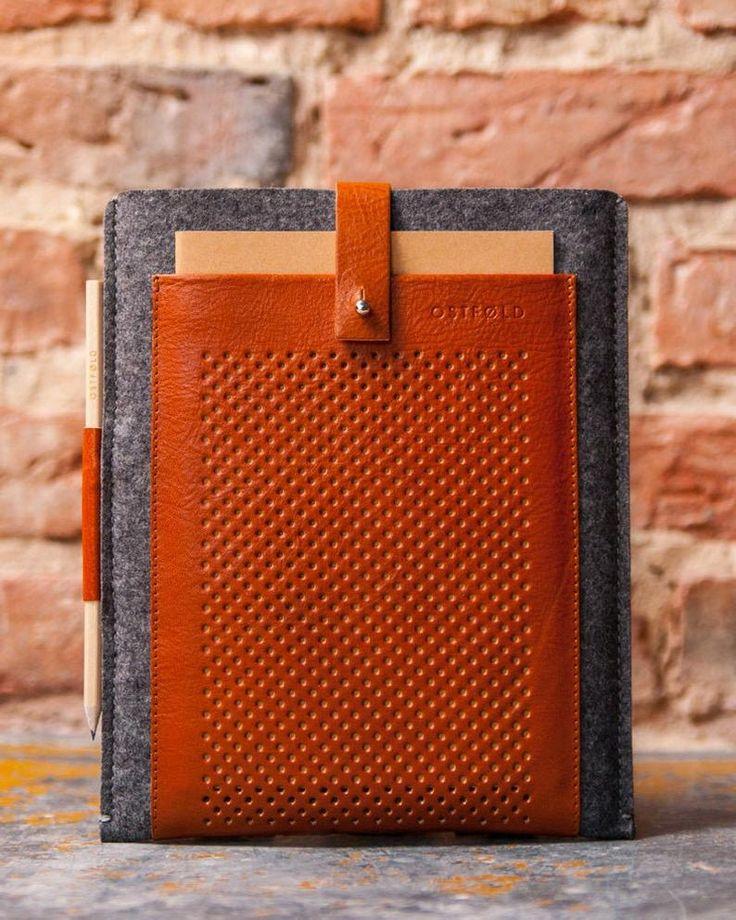 Genuine leather iPad case Felt iPad sleeve Leather tablet ...