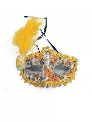 Colored Masquerade Masks with Yellow Feather
