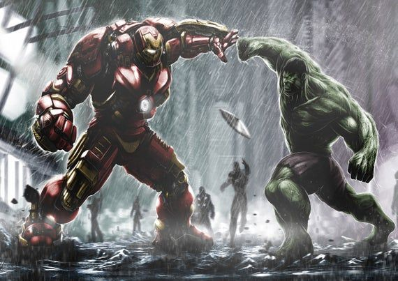 The Avengers Age Of Ultron Hulk Vs Hulkbuster Clash Of The Etsy Marvel Wallpaper Hulk Vs Hulkbuster Hero Wallpaper