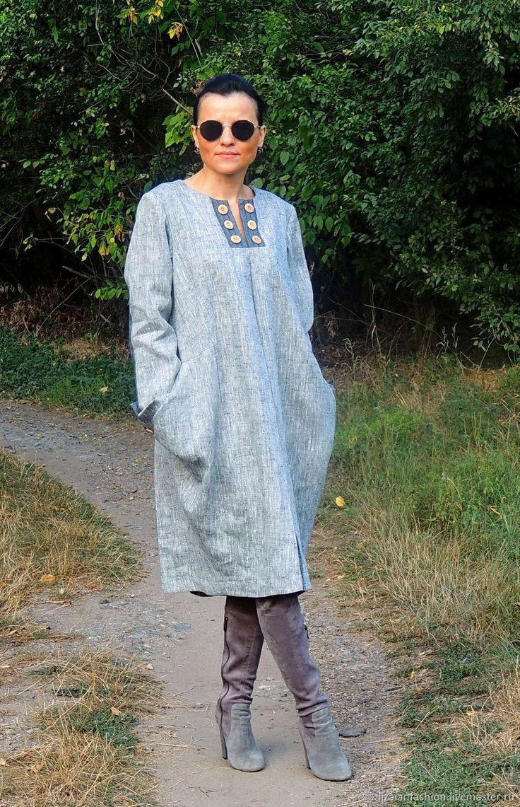 """Купить Платье в стиле """"Офисный БОХО"""" из натурального льна и шерсти (№262) - платье макси"""