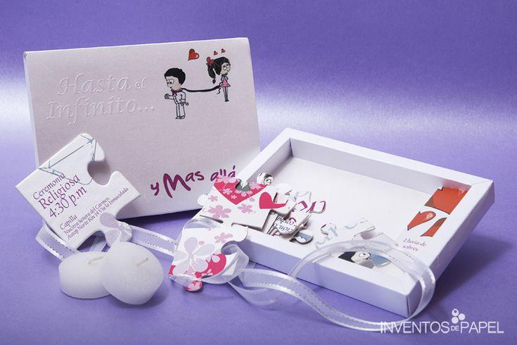 Invitación para boda caja horizontal con rompecabezas