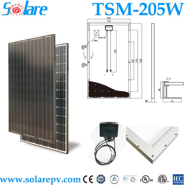 Cheap solar panels china 205W monocrystal   1.Use for STP,JA solar cells  2.5 years Warranty  3.IEC61215,CE, TUV approved