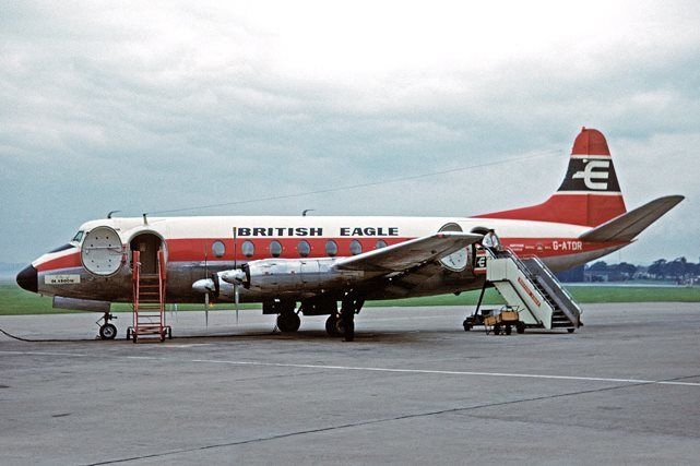 """British Eagle International Airlines Vickers 739A Viscount G-ATDR """"City of Glasgow"""" on the apron at Liverpool-Speke, September 1965. (Photo via Flickr: Ken Fielding)"""