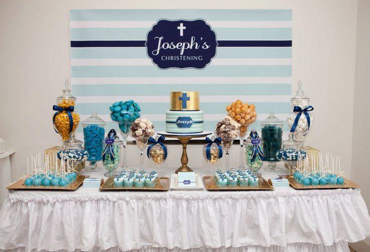 Boy Baptism Party Ideas | Celebrations in the Catholic Home: Blue Christening decoration idea