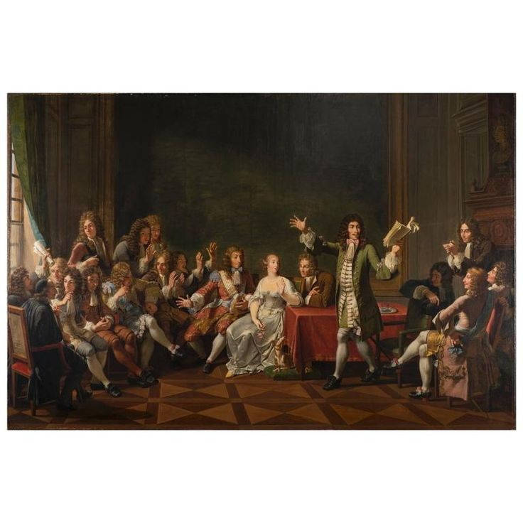 Molière Reading Tartuffe at Ninon de Lenclos's by Monsiau | From a unique collection of antique and modern paintings at https://www.1stdibs.com/furniture/wall-decorations/paintings/