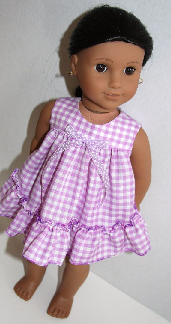 Purple gingham baby doll pajamas by SewLikeBetty on Etsy. Made from the Ruffed Shortie Set pattern, found at http://www.pixiefaire.com/products/ruffled-shortie-set-18-doll-clothes. #pixiefaire #ruffledshortieset