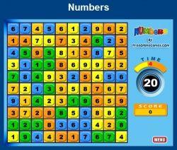 Jeu maths numbers additions