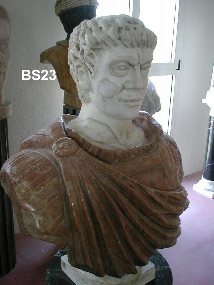 """Busto """"Marco Antonio"""" in marmo - http://www.achillegrassi.com/project/busto-marco-antonio-in-marmo-bianco-carrara-nuvolato-giallo-siena/ - Splendido esempio, di un busto raffigurante l'imperatore romano Marco Antonio, in Marmo bianco Carrara Nuvolato, Giallo Siena  Dimensioni: – 90cm (H)"""