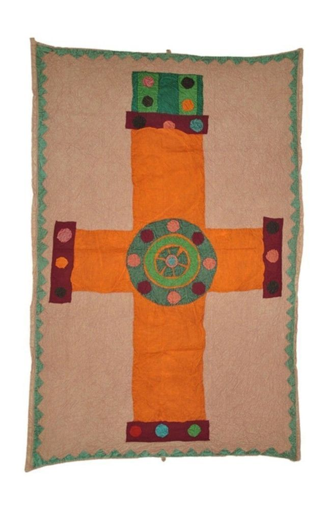 "Vintage Indian Wall Hanging Patchwork Cotton Throw Decoration Tapestry 53x36"" #LalHaveli"