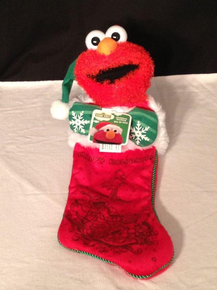 "NEW w/ TAGS Sesame Street ELMO christmas stocking 21"" LONG"