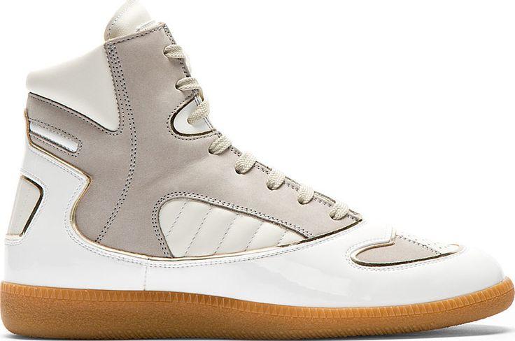 Maison Martin Margiela: White & Grey Leather Cadillac Sneakers