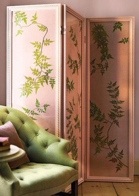 Pink Folding Screen.  For ideas on how to decorate with a folding screen, go to http://decoratingfiles.com/2012/08/folding-screen/