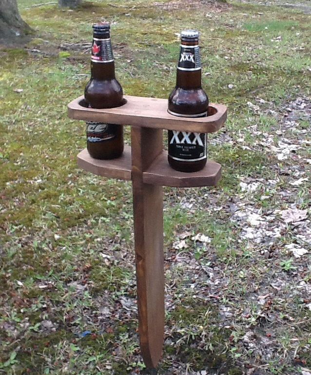 Beverage holder yard stake by adirondackstyles on Etsy