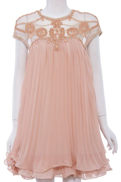 ROMWE | Beaded Pleated Layered Apricot Dress, The Latest Street Fashion. Drooling over the intricacy of beadwork!