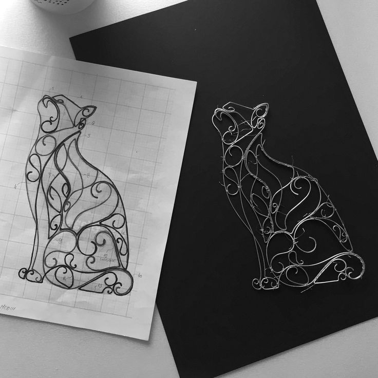 Wire art - cat ... design and finished product  Instagram @springstring