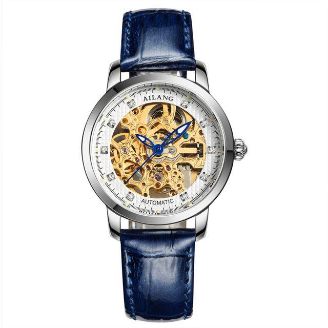 Luxury Brand AILANG Watches Women Stainless Steel Automatic Mechanical Watch Women Skeleton Rhinestones female Waterproof Watch