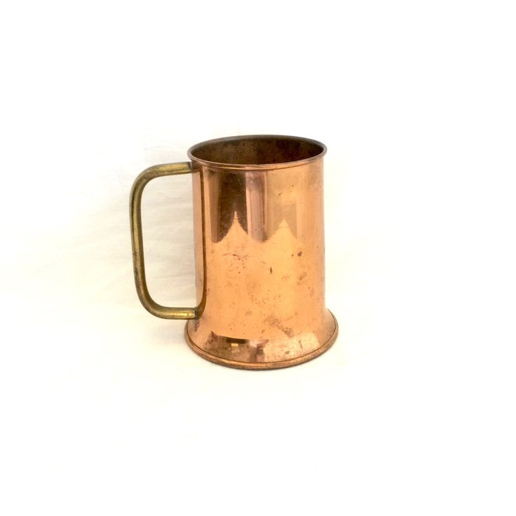Solid Copper Stein Mug / Copper Moscow Mule Mug with Handle by EllasAtticVintage on Etsy