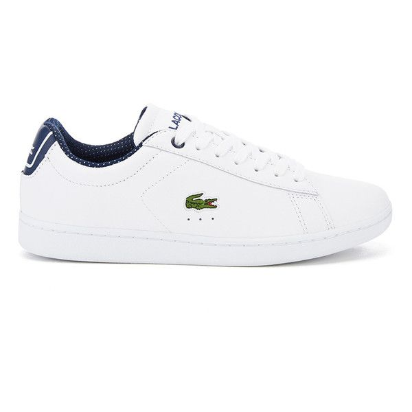 Lacoste Women's Carnaby Evo 116 1 SPW Court Trainers (5.435 RUB) ❤ liked on Polyvore featuring shoes, sneakers, white, leather shoes, white lace up sneakers, leather flat shoes, white leather sneakers and leather sneakers