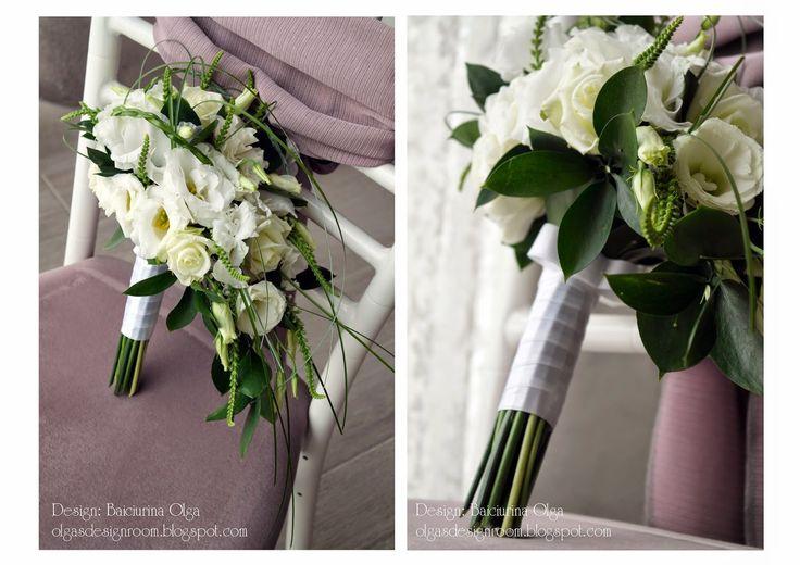 Baiciurina Olga's Design Room: Green&White cascade wedding bouquet-Бело-зеленый каскадный букет невесты.