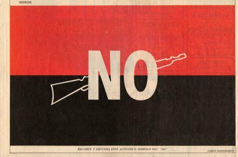 EL auténtico símbolo del NO. Campaña del SI, plebiscito de 1988 (Fuente: http://econtent.unm.edu/cdm/singleitem/collection/LAPolPoster/id/3848/rec/231)