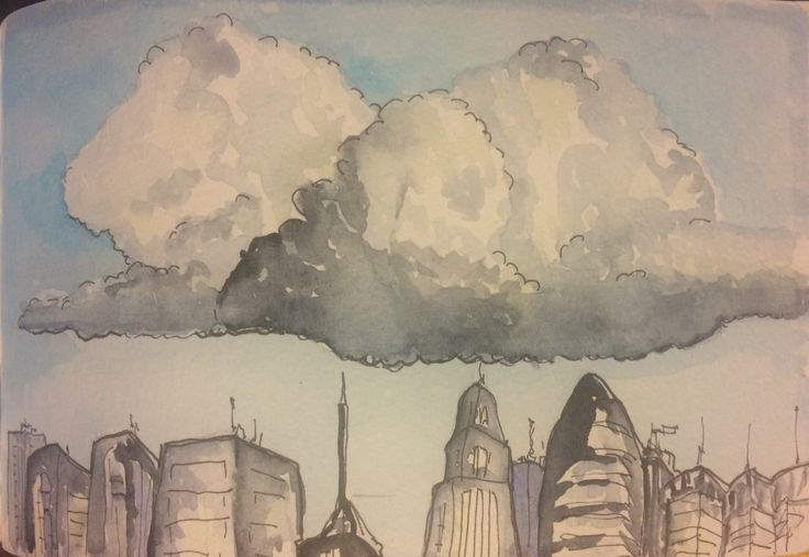 Cloudy sky - watercolor