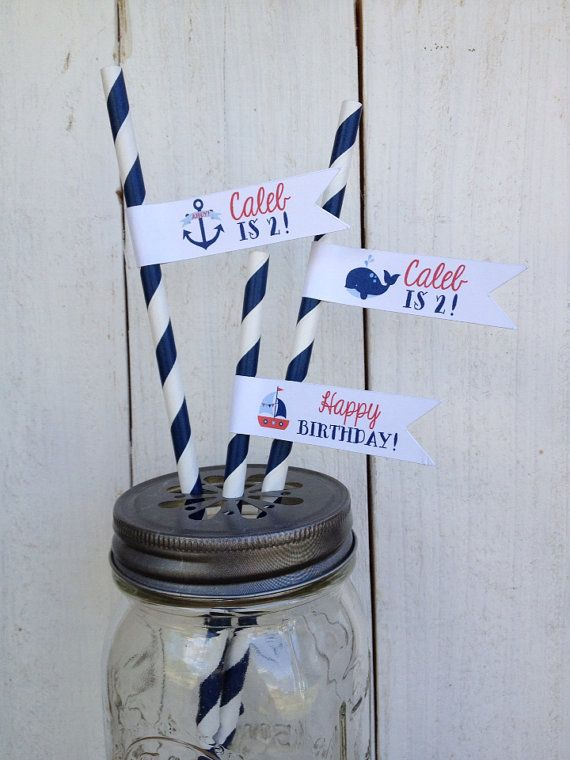 Nautical Birthday Straws Personalized Flags by angieheartsjared
