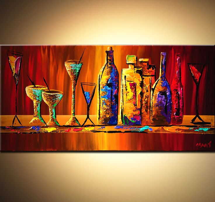 Original abstract art paintings by Osnat - colorful wine bottles and glasses