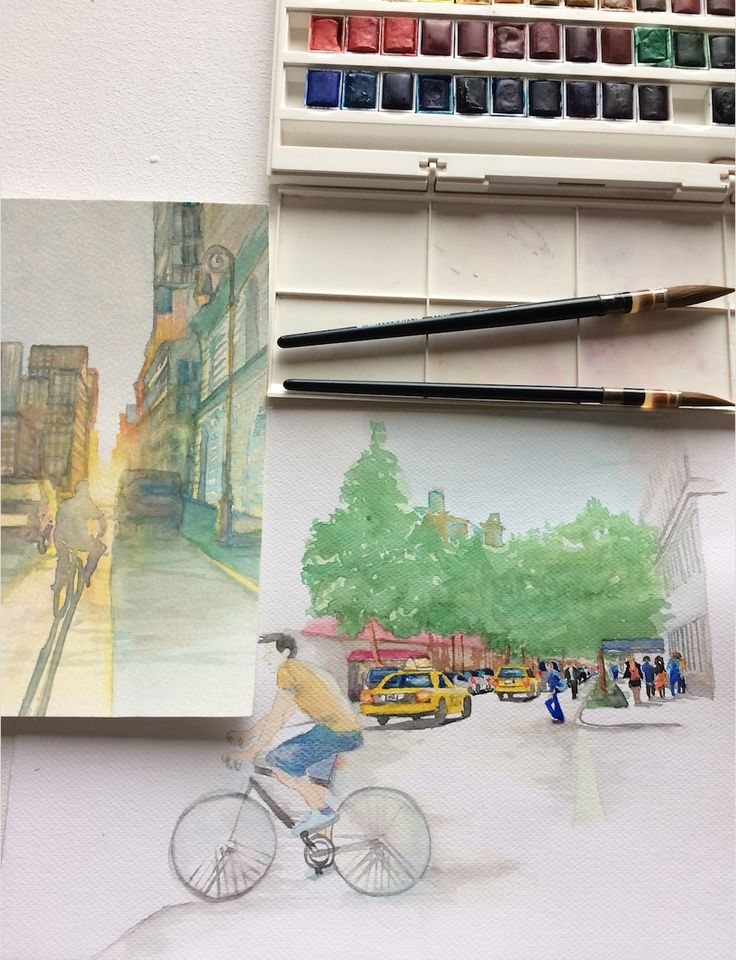A cyclist in the streets of New York City. Daily #sketch #watercolor #cityscape #bicycle #sketchbook