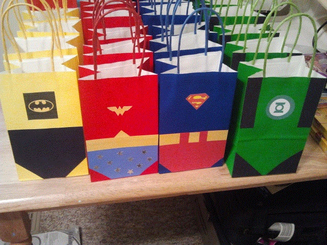 Justice League Goody Bags, my version using the link as inspiration