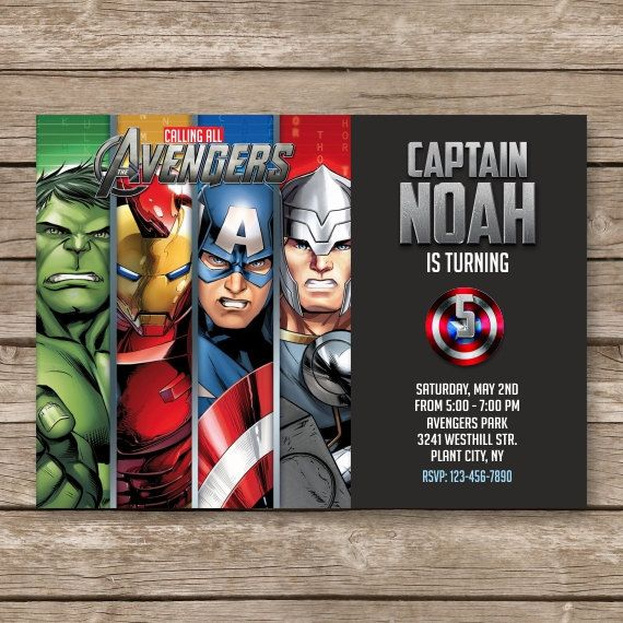 Superhero Invitation Super Hero Invite Avengers Birthday
